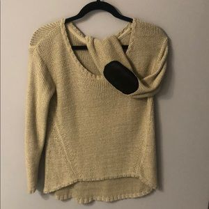 Tan sweater with faux leather elbow embellishment